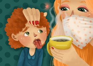 Чашечка горячего чая - мама с дитем
